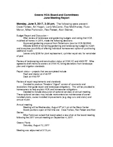 Greens Board Minutes JunToDec 2017